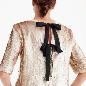 NWT J. Crew Rose Gold Sequin Bow Back Top